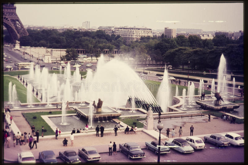 Original vintage colour slide from 1960s, view of fountains and stock image