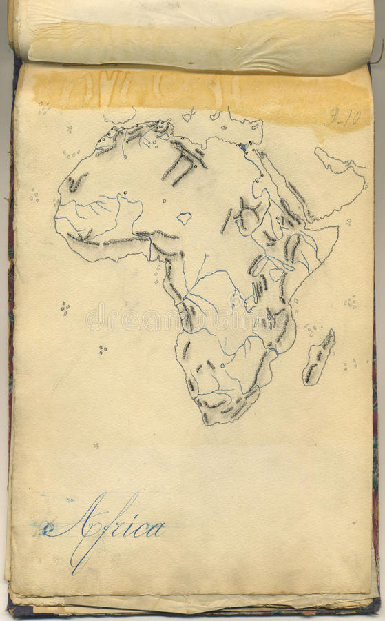 Original vintage map of Africa stock photo