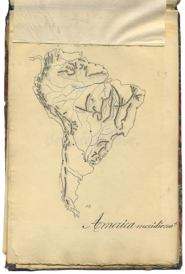 Original vintage map of South America royalty free stock images
