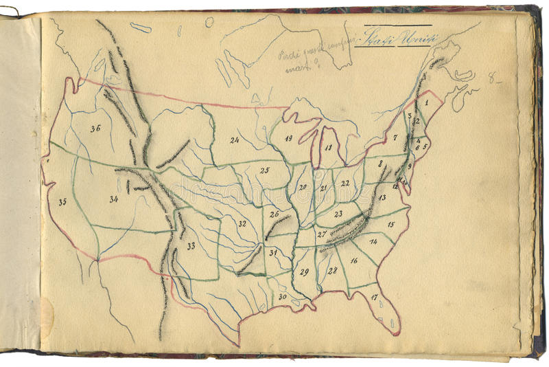 Original vintage map of USA stock photography