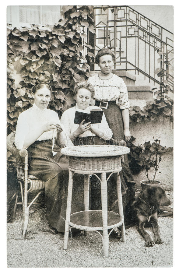 Original vintage photo. Portrait of three mature women. Old pict. Berlin, Germany - Circa 1932: original vintage photo. portrait of three mature women. old stock images