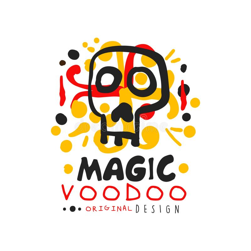 Original Voodoo African and American magic logo or label design with abstract hand drawn mystic skull and decoration vector illustration