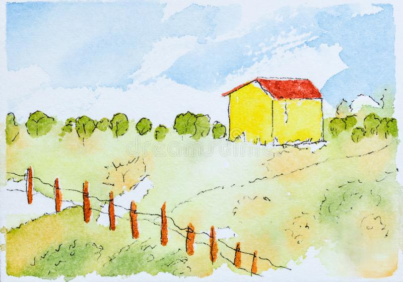 An original watercolor painting with a green meadow and a yellow barn. An original watercolor painting by Robbin Siembieda.  A green farm meadow and a blue sky royalty free stock images