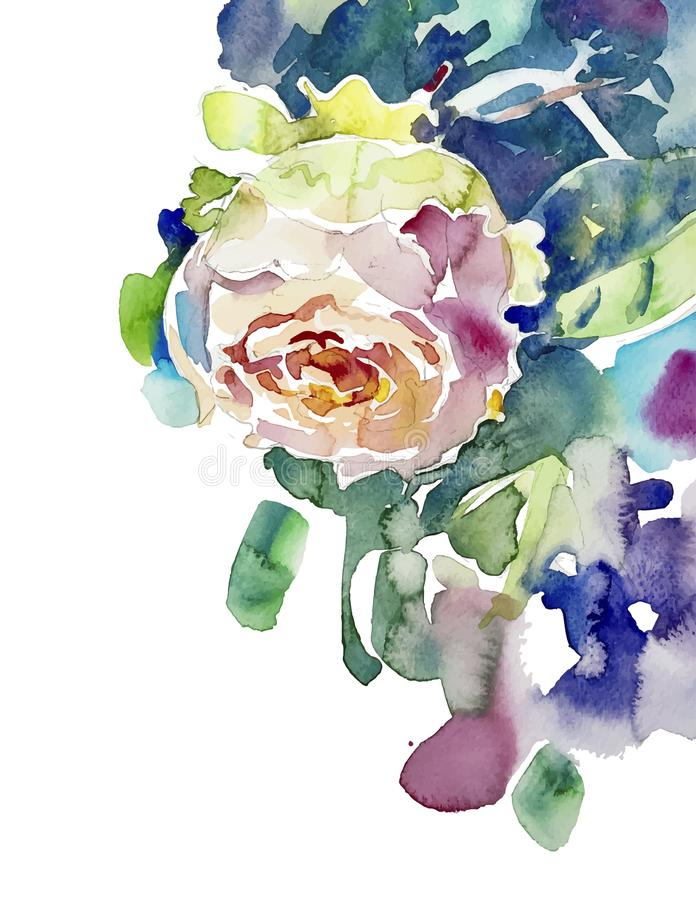 Original watercolor painting of pink rose vector illustration