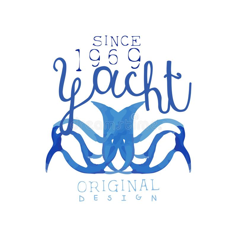 Original watercolor painting for yacht club. Bright blue emblem with abstract octopus. Sea theme. Hand drawn vector. Illustration isolated on white background vector illustration