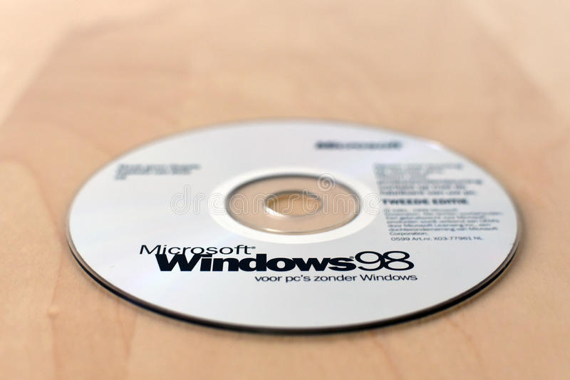A original Windows 98 CD on the table stock photo