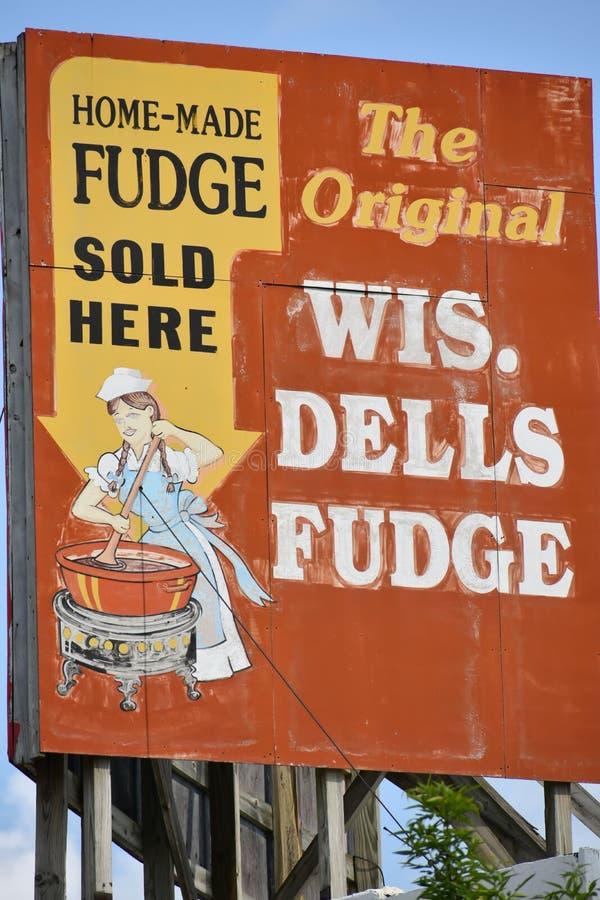 The Original Wisconsin Dells Fudge Sign stock image