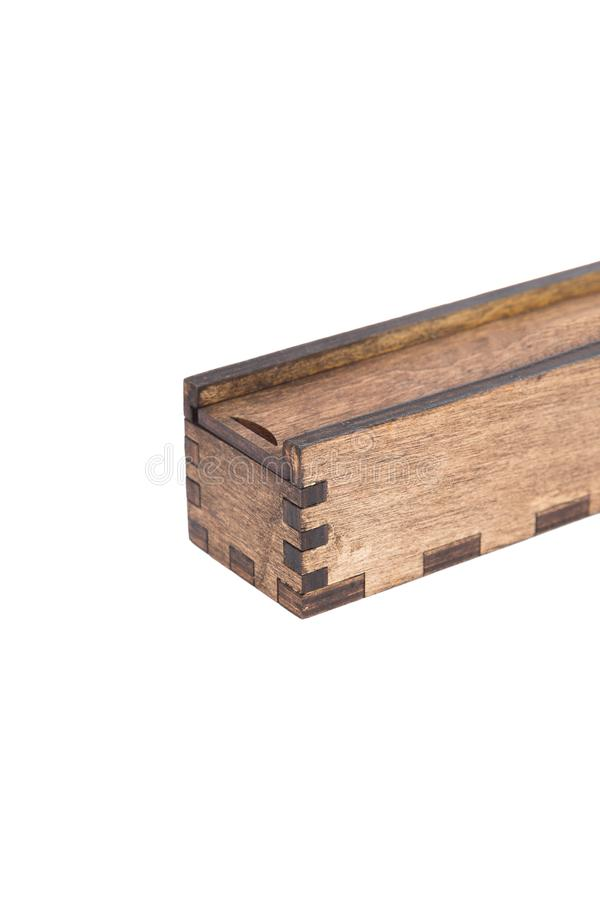 Original wooden box for handmade ballpoint pen on a white background. stock image