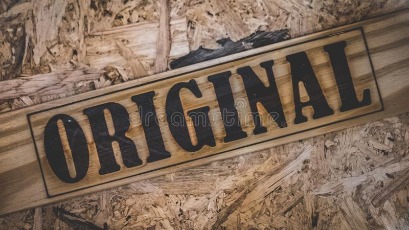 Original Wording On Wooden Background royalty free stock photos