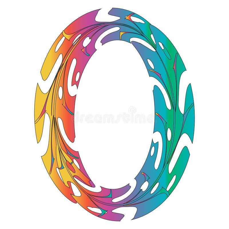 Original Zero Symbol Design. Original Rainbow Zero Symbol Design. Tropical Leaf Style Letter O Vector Illustration. Stylish Idea for Logo, Emblem etc. Null stock illustration