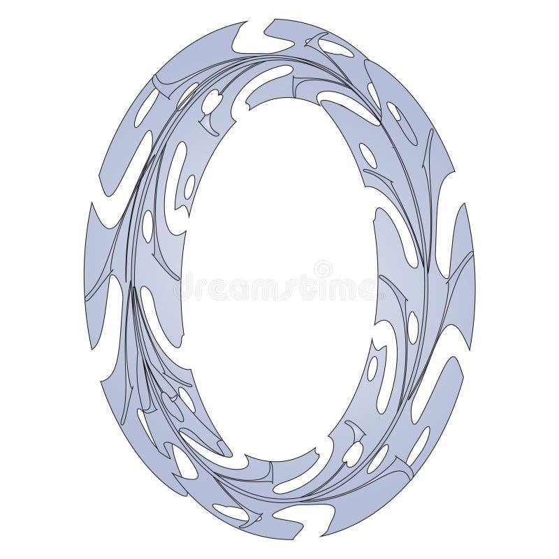Original Zero Symbol Design. Tropical Leaf Style Letter O Vector Illustration. Stylish Idea for Logo, Emblem etc. Null Number Textured Design in Gray Blue stock illustration