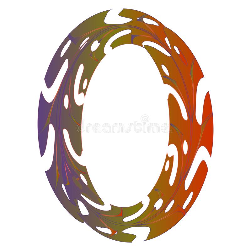 Original Zero Symbol Design. Tropical Leaf Style Letter O Vector Illustration. Stylish Idea for Logo, Emblem etc. Null Number Textured Design in Orange, Violet vector illustration