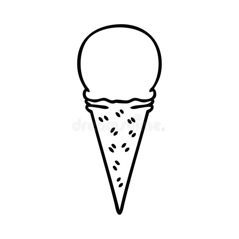 originale cono del gelato alla vaniglia del fumetto del disegno a tratteggio illustrazione di stock