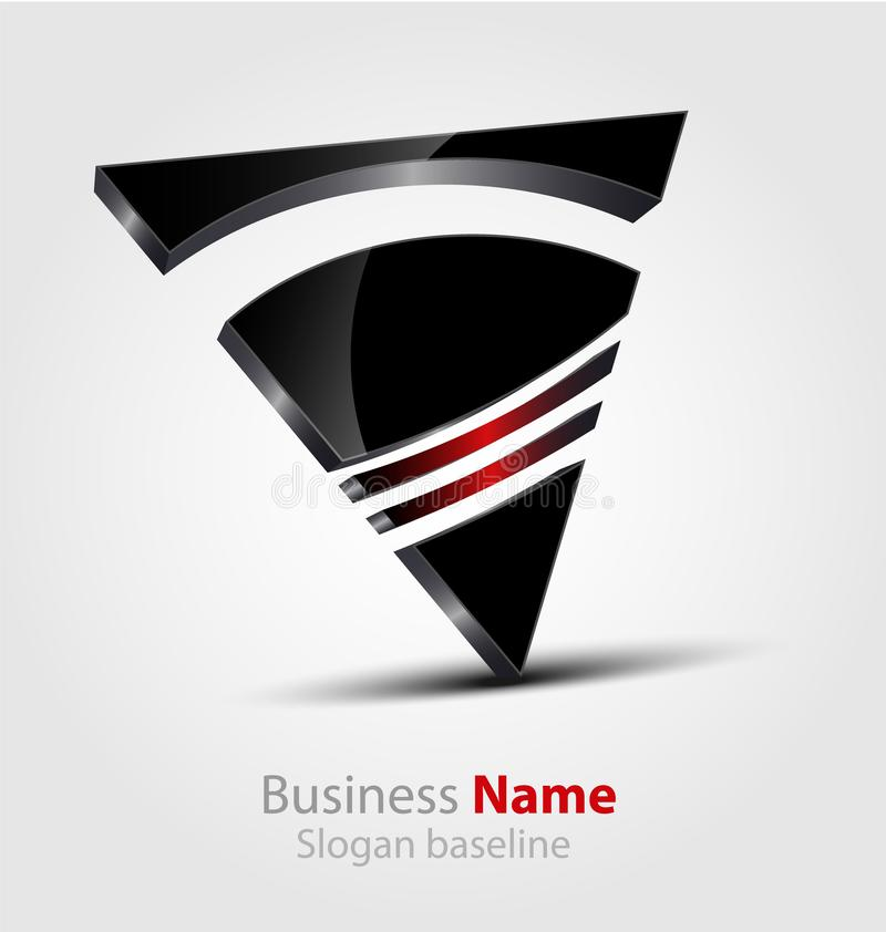 Abstract glossy 3D business vector 3D logo royalty free illustration