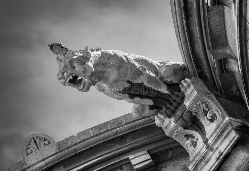 Originally designed as waterspouts, gargoyles were later on mainly intended to guard and protect the church from evil and harmful. Dark, spirits stock image