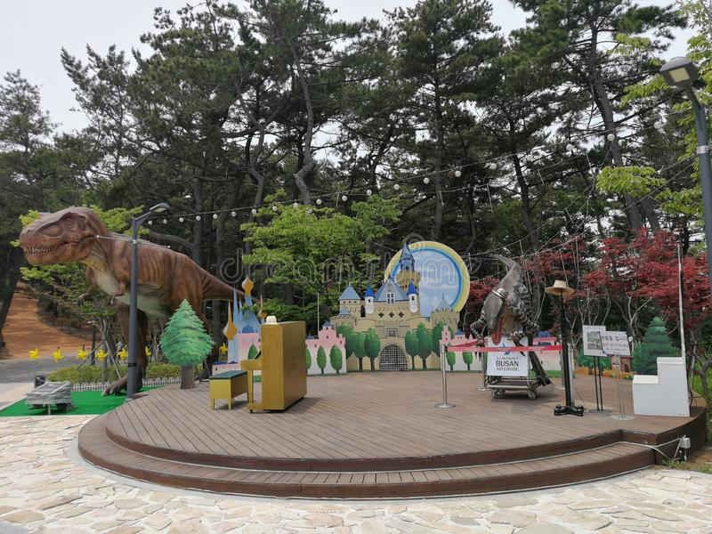 Songdo Marine Cable Car Dinasour Park, Busan. Originally launched in 1964 as Korea`s first cable car, the Songdo Beach attraction reopened in 2017, measuring a royalty free stock image