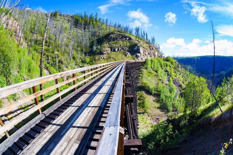 Historic Trestle Bridge at Myra Canyon in Kelowna, Canada. Originally one of 19 wooden railway trestle bridges built in the early 1900s in Myra Canyon, Kelowna royalty free stock image