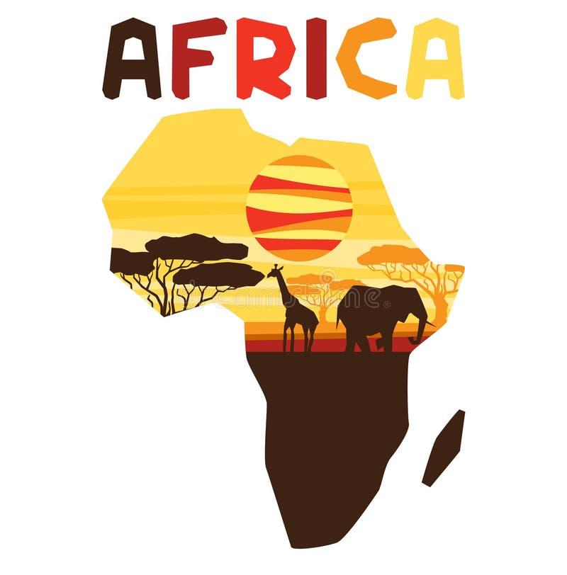 Origine ethnique africaine avec l'illustration de la carte illustration stock