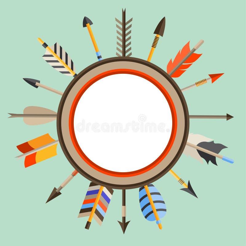 Origine ethnique avec les flèches indiennes dans l'indigène illustration de vecteur