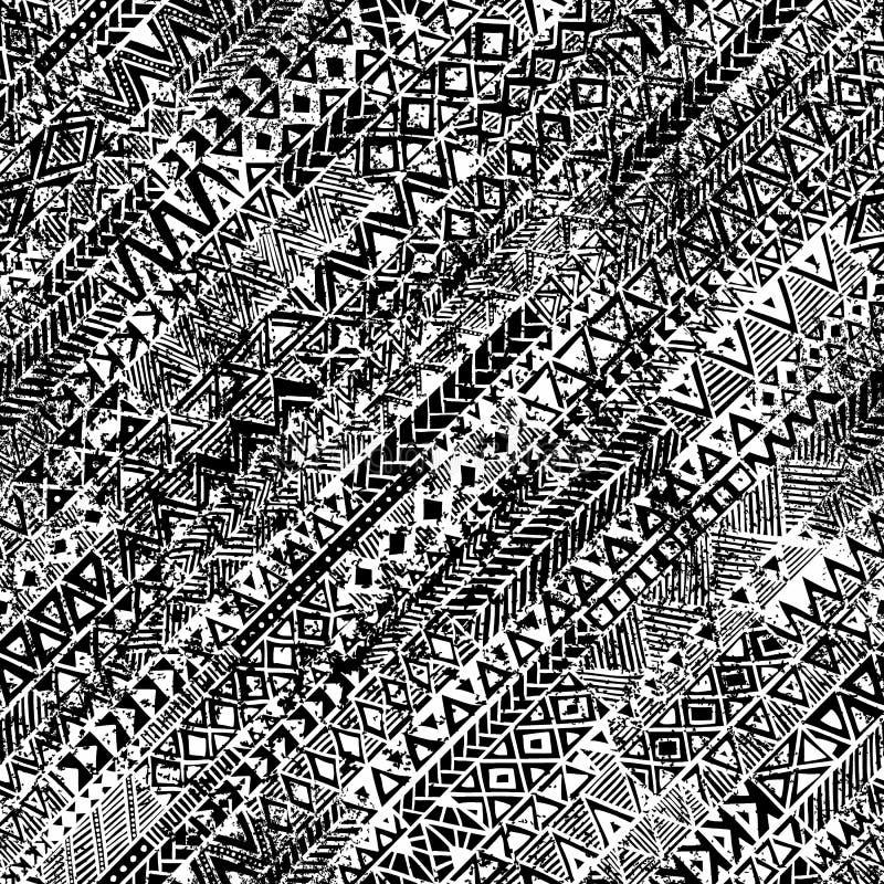 Origine etnica di lerciume Reticolo in bianco e nero senza giunte royalty illustrazione gratis