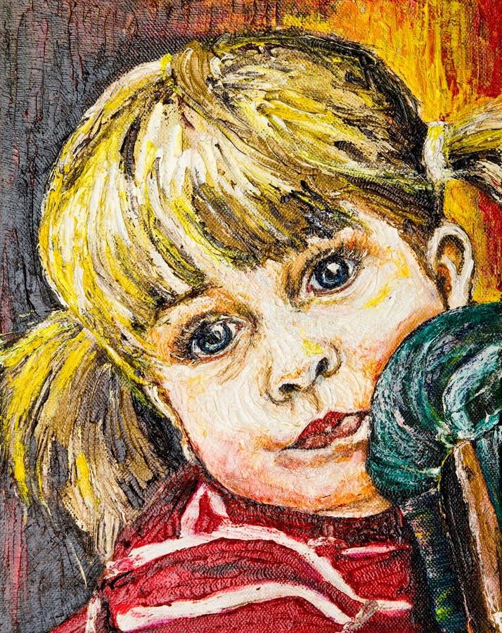 Het portretolieverfschilderij van het meisje royalty-vrije illustratie
