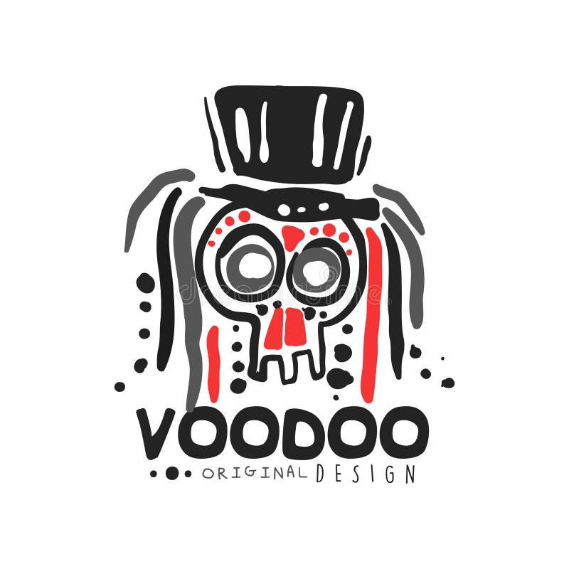 Origineel het malplaatjeontwerp van het Voodoo magisch embleem met abstracte schedel met haar die hoed dragen Godsdienst en cultu royalty-vrije illustratie