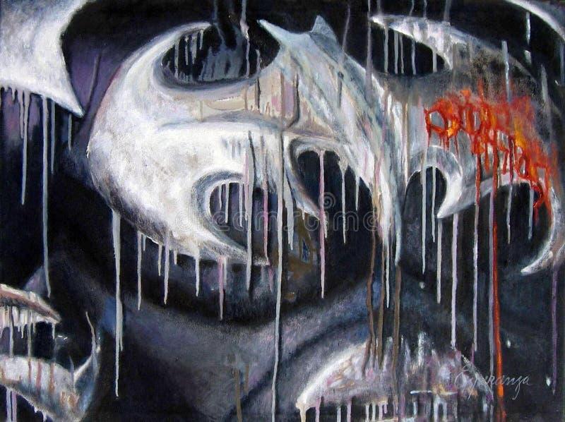 Origineel het schilderen abstract kunstwerk oleo royalty-vrije illustratie