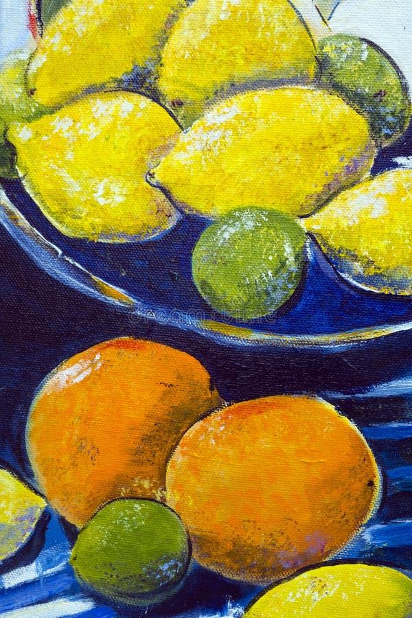 Origineel olieverfschilderij dicht omhooggaand detail - citroenen en kalk stock fotografie