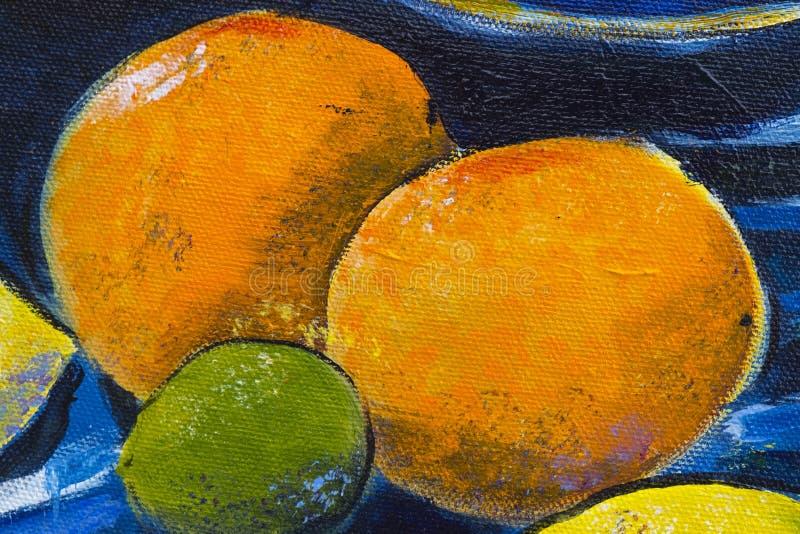 Origineel olieverfschilderij dicht omhooggaand detail - sinaasappelen stock afbeelding