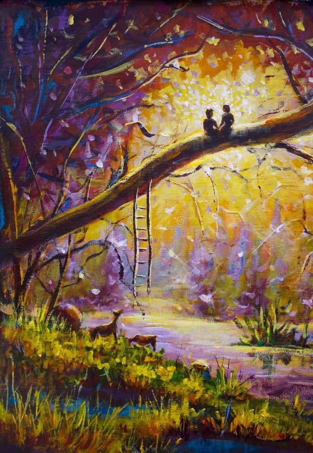 Origineel Olieverfschilderij op canvas - de kerel en het meisje zitten op tak in bos - Modern impressionismeart. vector illustratie