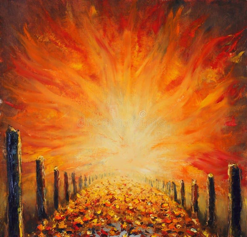 Origineel olieverfschilderij van weg, abstract rood licht op canvas Abstracte brug vector illustratie