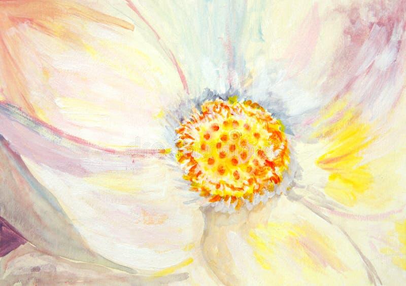Origineel schilderend een lotusbloembloem, een kindart. vector illustratie