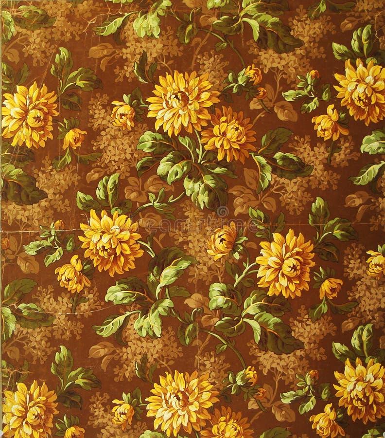 Origineel textielstoffenornament van de Gouden Bloemen De slijpstof is met de hand geschilderd met gouache stock illustratie