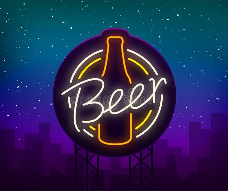Origineel uitstekend retro ontwerp van een neon-stijl embleem voor een bierhuis, barbar die, brouwerijbrouwerij, herberg bar vull royalty-vrije illustratie