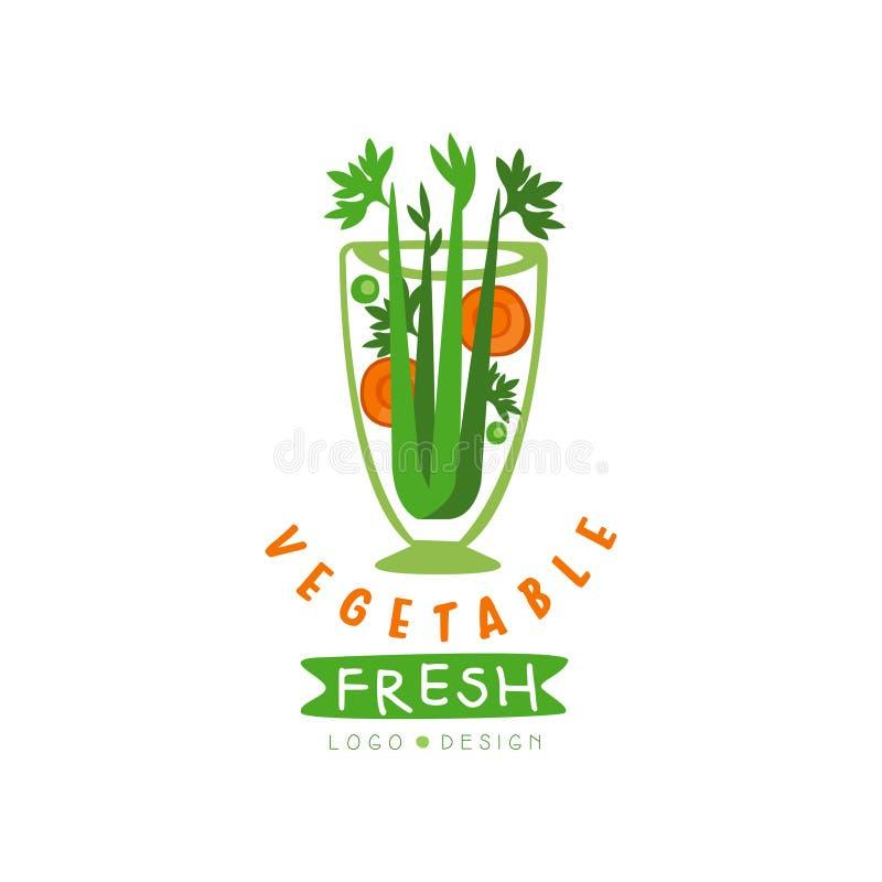 Origineel vectorembleem voor natuurlijke drank van peterselie en wortelen Organische vegetariër smoothie Smakelijke en verse dran vector illustratie