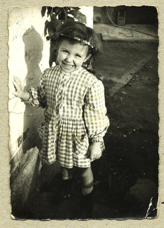 Originele antieke foto - jong meisje stock fotografie