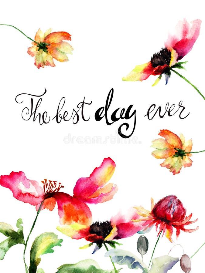 Originele bloemen met titel de beste dag ooit vector illustratie