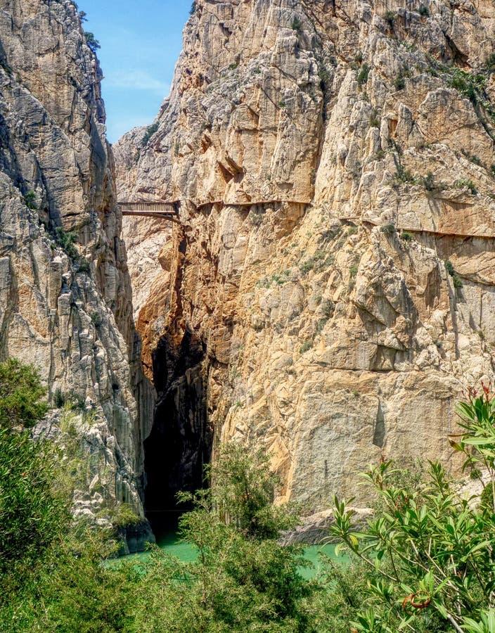 Originele Camino Del Rey, Gr Chorro, Andalucia stock afbeeldingen