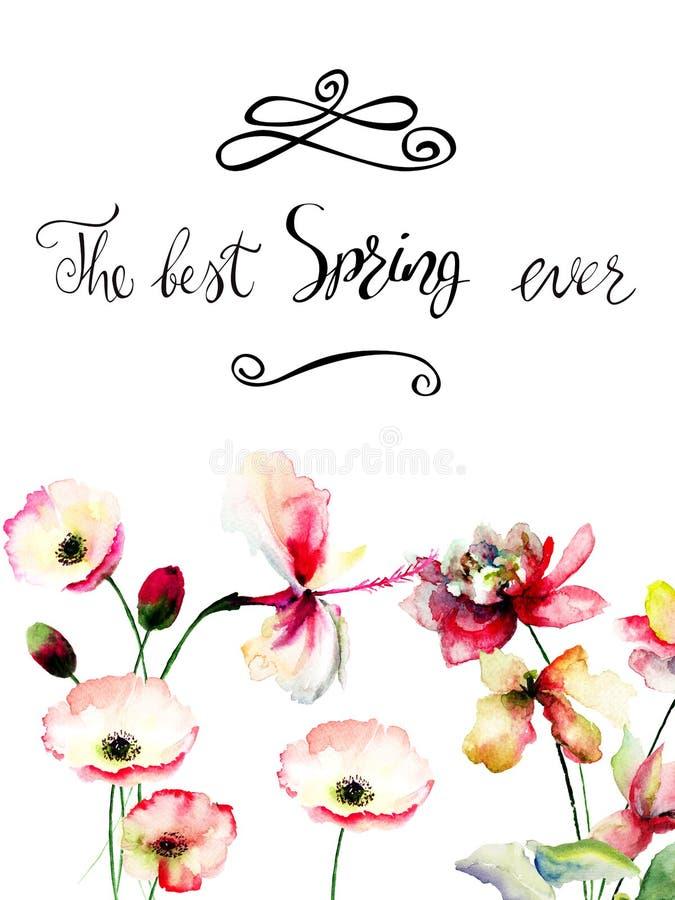 Originele de zomerbloemen met titel de beste lente ooit vector illustratie