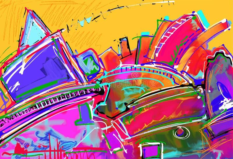 Originele digitale illustratie van abstracte kunst royalty-vrije illustratie