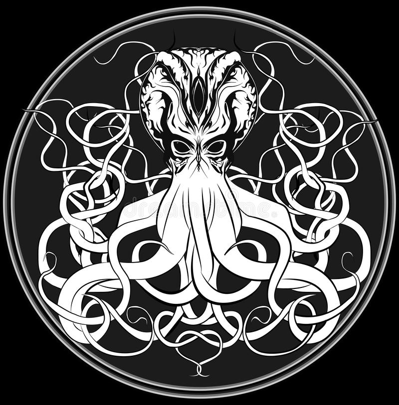 Originele drie-eyed octopus stock illustratie