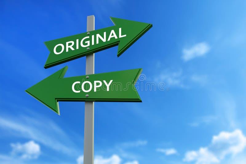 Originele en exemplaarpijlen tegenover richtingen vector illustratie