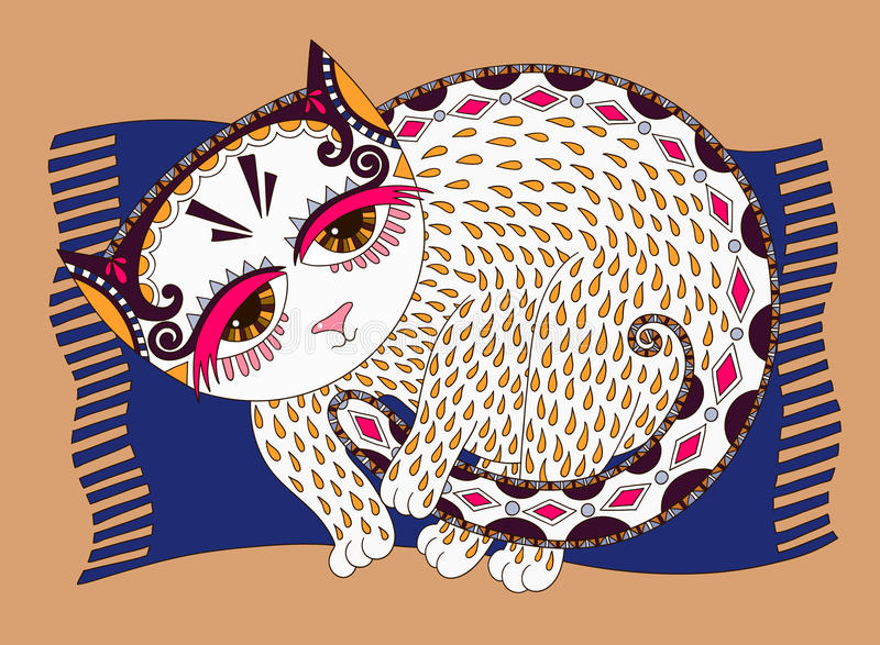 Originele illustratie van decoratieve kat vector illustratie