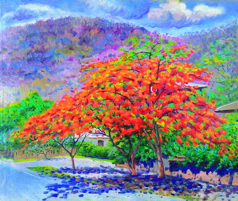 Originele kleurrijk van het olieverfschilderijlandschap van de boom van de pauwbloem stock illustratie
