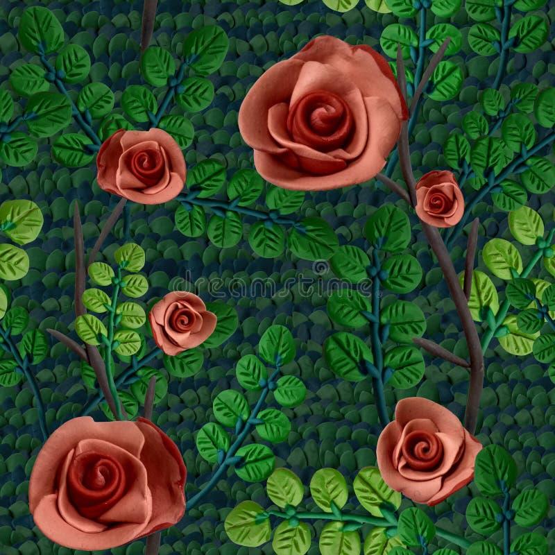Originele naadloze textuur met het beeld van rozen en bladeren royalty-vrije stock fotografie