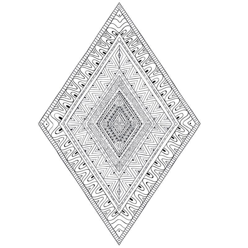 Originele ruit 2 van tekenings etnische stammendoddle royalty-vrije illustratie