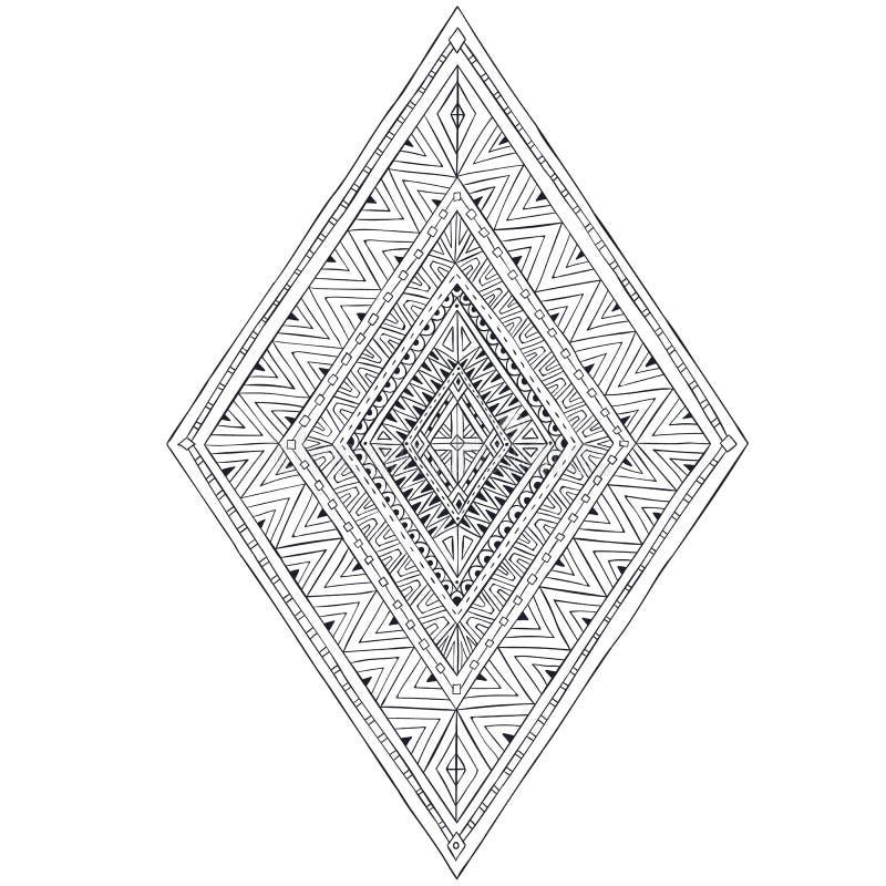 Originele ruit 3 van tekenings etnische stammendoddle royalty-vrije illustratie