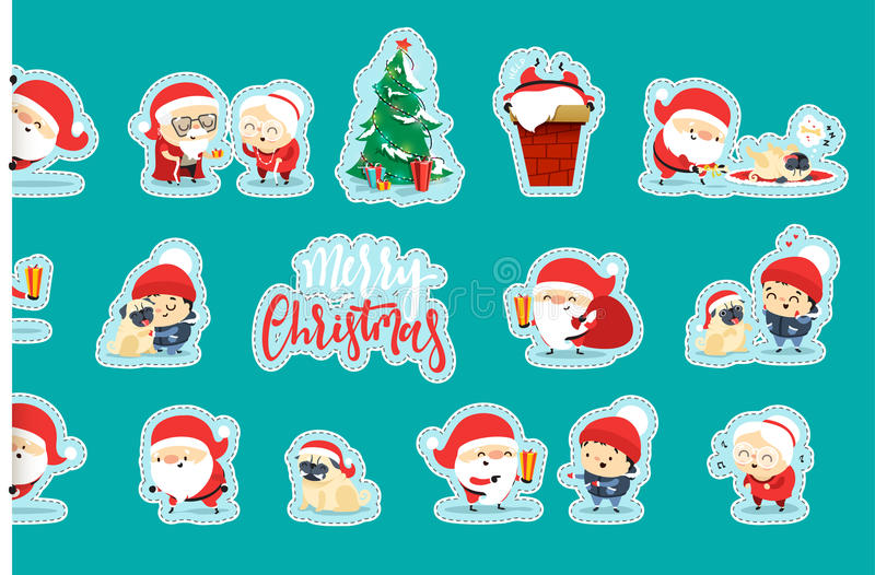 Originele Santa Claus Funny Christmas-karakters in vlakke stijl stock illustratie