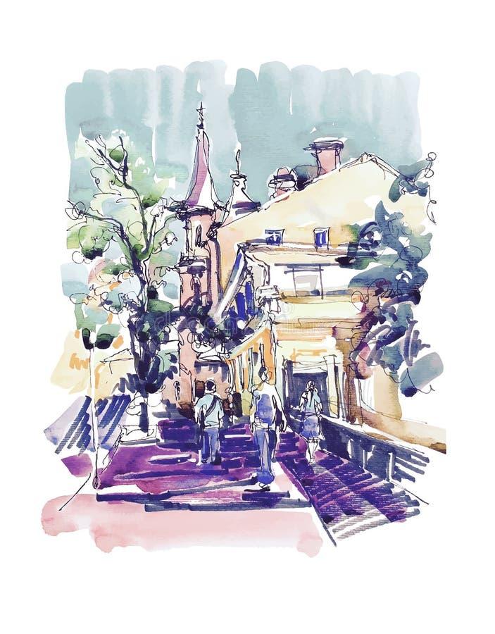 Originele schetstekening van de plaats van Zoloti Vorota in Kyiv de Oekraïne royalty-vrije illustratie