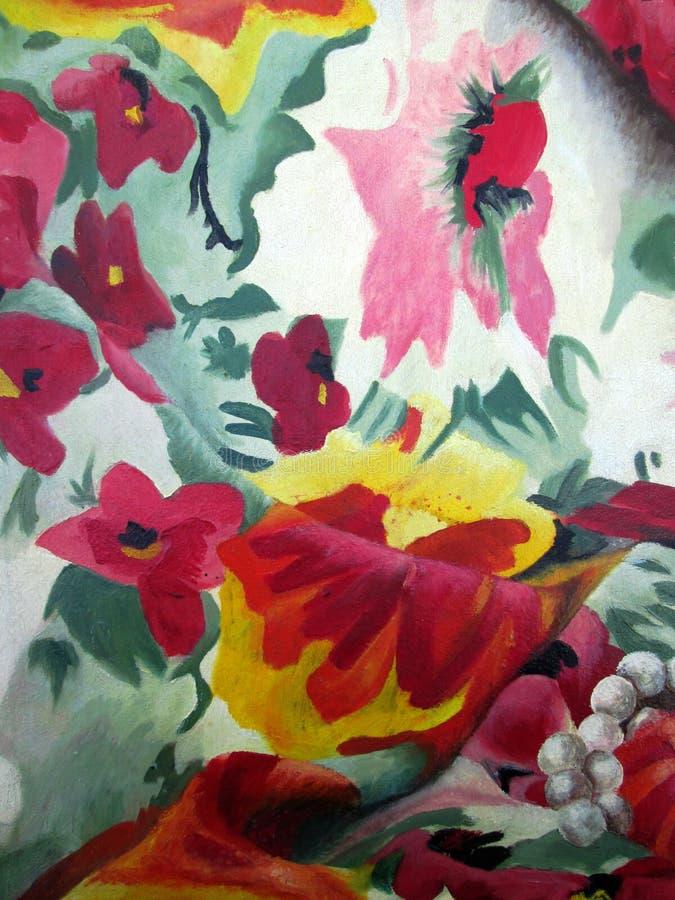 Originele schilderijen met multicolored bloemen en parels op witte olie als achtergrond op canvas royalty-vrije stock afbeeldingen